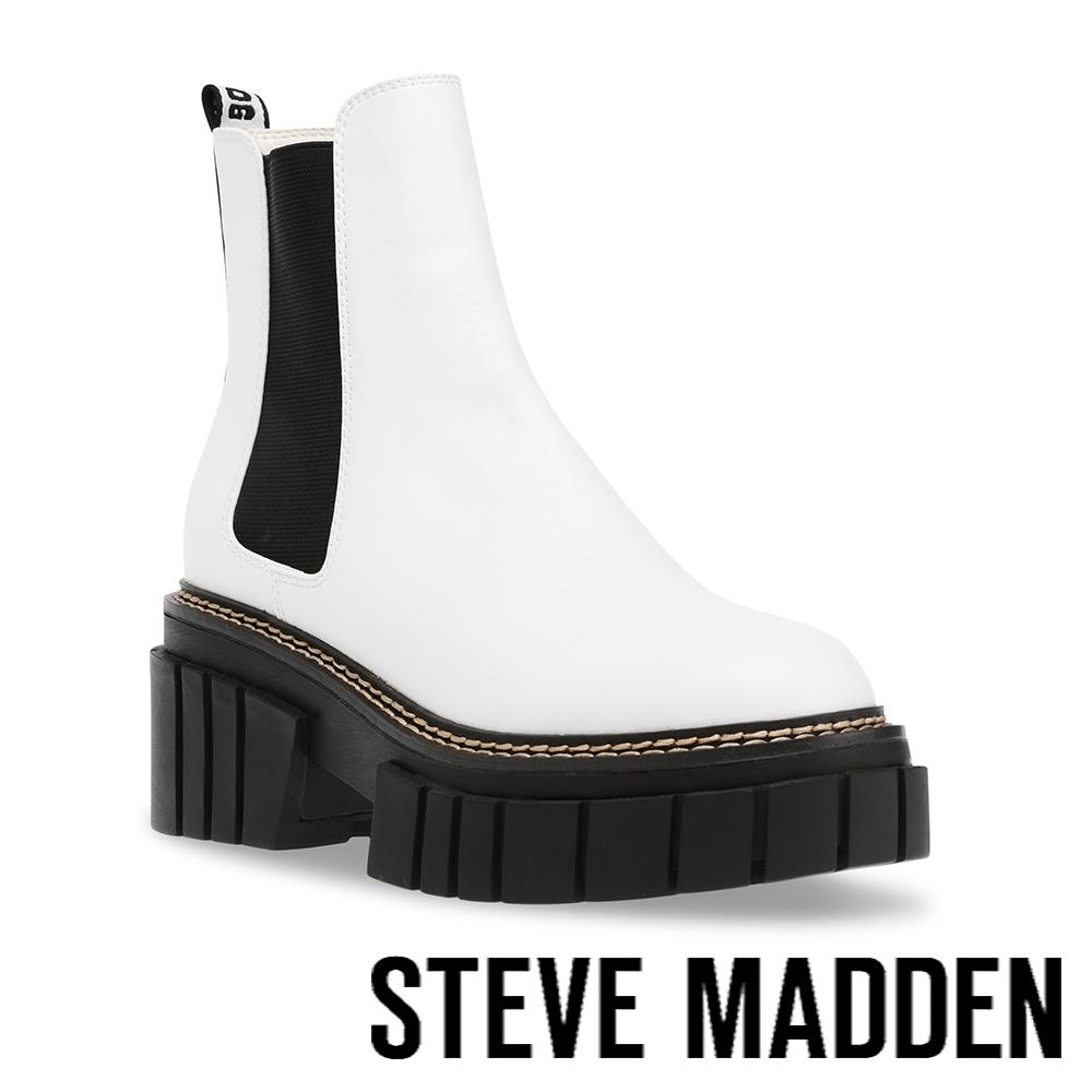STEVE MADDEN-HAILSTORM 素面厚底中筒靴-白色