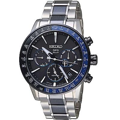 SEIKO精工ASTRON GPS 5X53雙時區鈦金屬腕錶(SSH009J1)-黑藍色
