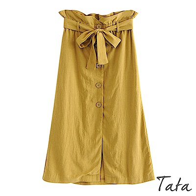 花苞開叉排扣長裙(附腰帶) TATA