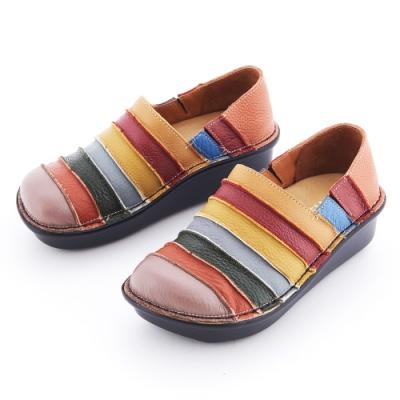 G.Ms. MIT系列-彩虹條紋拼接全牛皮厚底懶人鞋-紫色