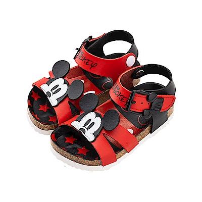 迪士尼童鞋 米奇 造型帶扣魔鬼氈涼鞋-黑紅