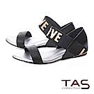 TAS 金屬感LOVE一字繫帶內增高涼鞋-質感黑