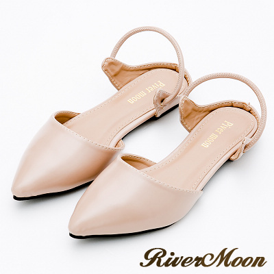 River&Moon大尺碼-復古女伶2way尖頭後拉帶平底鞋-米杏