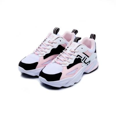 FILA BEATS TRACER 女性復古慢跑鞋-粉黑 5-J526U-150