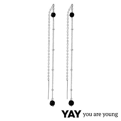 YAY You Are Young Stella 黑曜石耳環 不對稱拉線設計 銀色X黑色