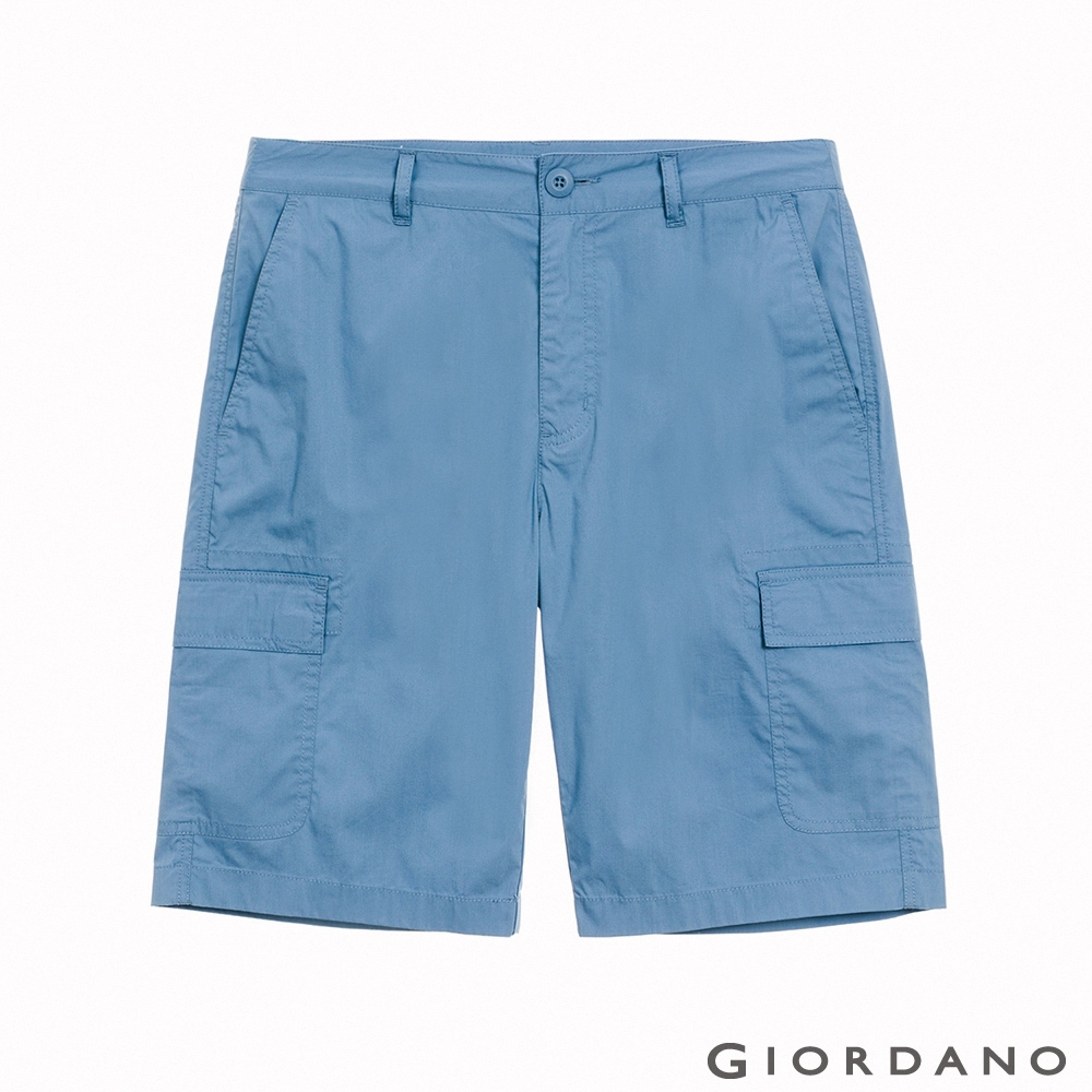 GIORDANO 男裝快乾涼感工裝卡其短褲 - 67 冠冕藍