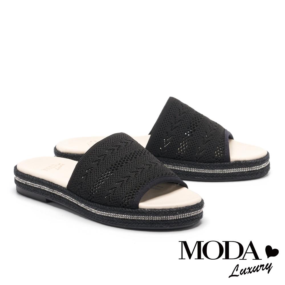 拖鞋 MODA Luxury 簡約民俗風飛織草編厚底拖鞋-黑
