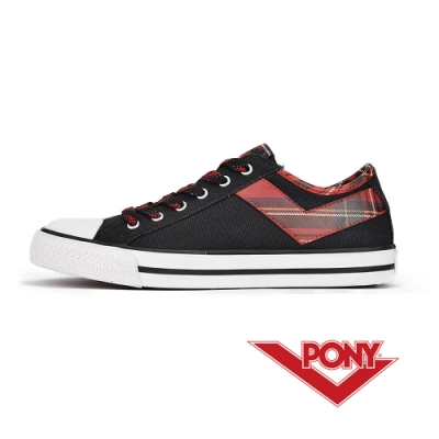 【PONY】Shooter系列 拼接格紋LOGO短筒 帆布鞋 女鞋 格紋紅