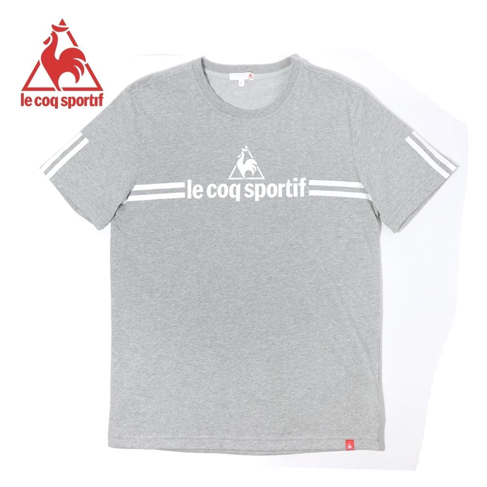 le coq sportif 法國公雞牌經典品牌LOGO雙線條短袖T恤 男-灰