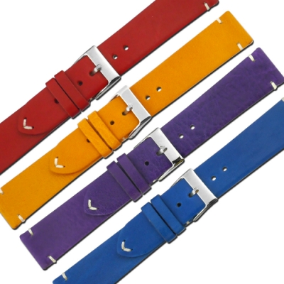 Watchband / 各品牌通用 薄版 飽和色 銀扣不鏽鋼 真皮錶帶 / 20mm