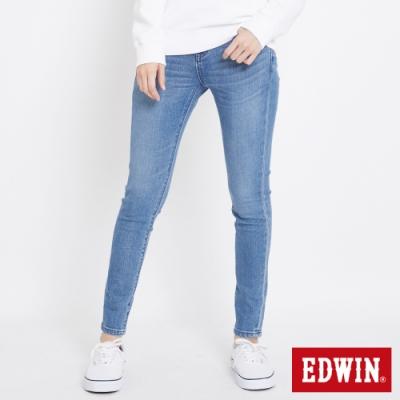 EDWIN MISS 503 基本五袋式 窄管牛仔褲-女-漂淺藍