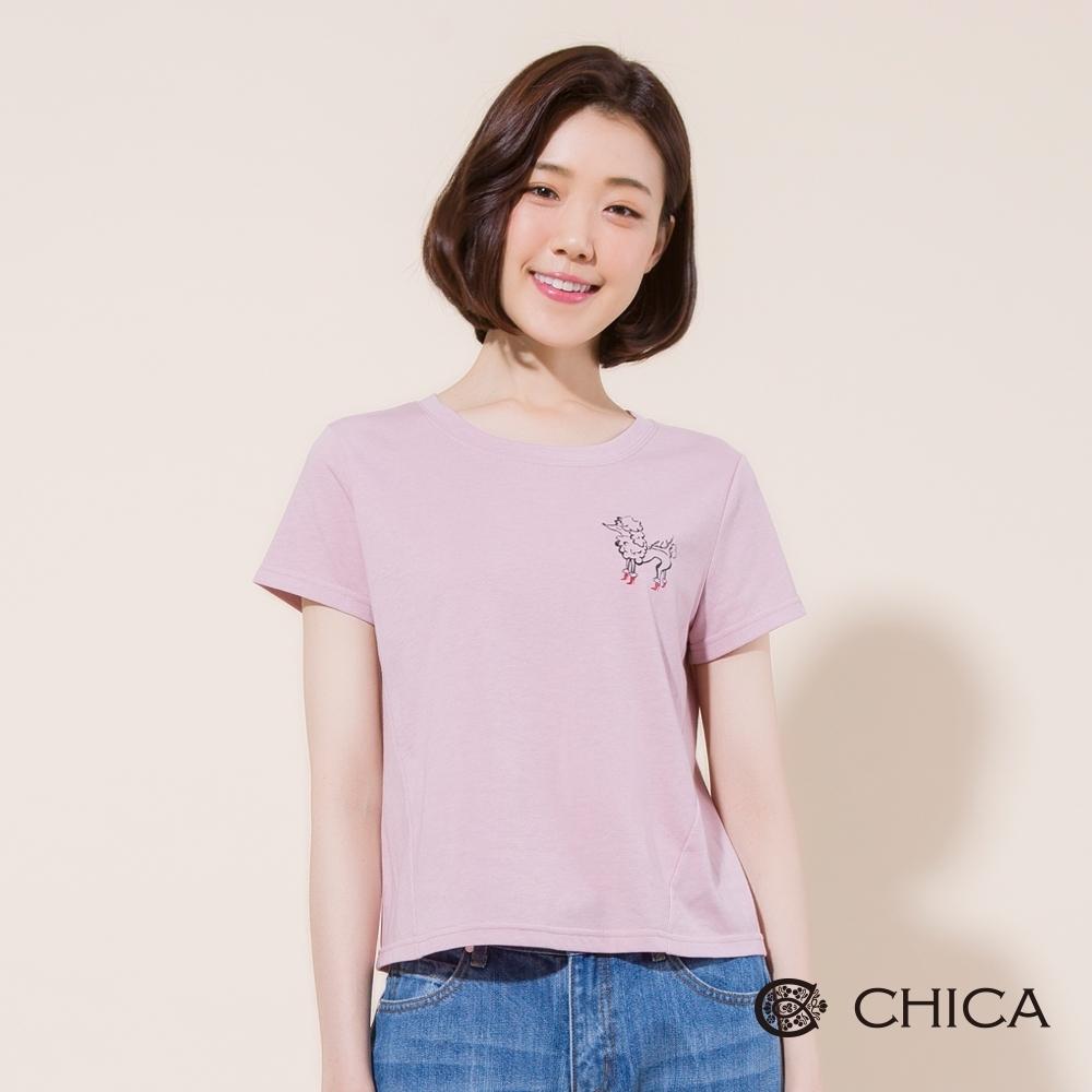 CHICA 俏皮女孩手繪狗狗印花短版T恤(2色)