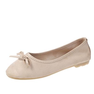KEITH-WILL時尚鞋館 甜美玩色彈力豆豆鞋-米色