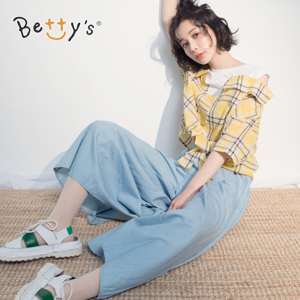 betty's貝蒂思 細條紋加寬褲管寬褲(淺藍)