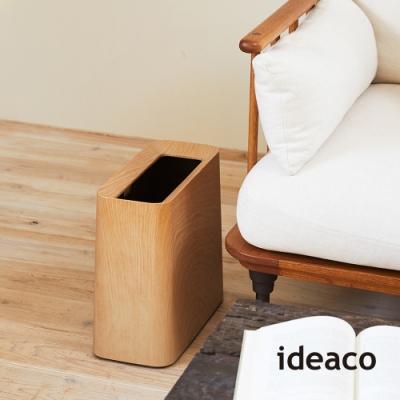 日本ideaco 橡木紋方形家用垃圾桶-11.5L