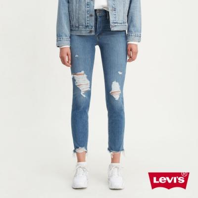 Levis 女款 724 高腰修身直筒牛仔褲 Orta丹寧 彈性柔軟大刷破