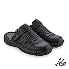 A.S.O手縫氣墊 縫線牛皮氣墊涼拖鞋 黑