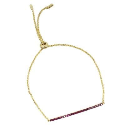 apm MONACO法國精品珠寶 閃耀一字型紅寶石可調整金色手鍊手環