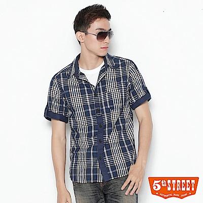 5th STREET 配色格紋襯衫-男-丈青