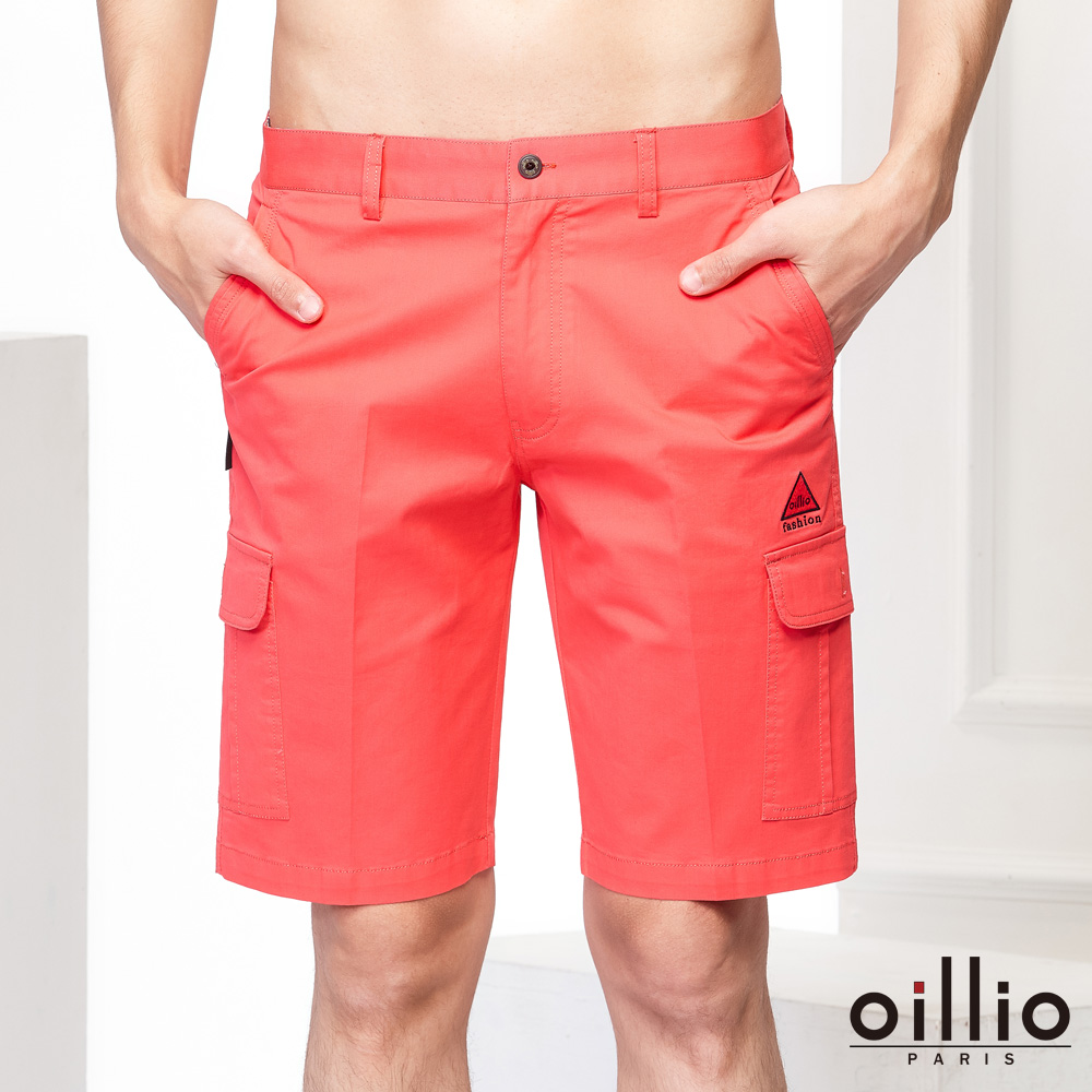 oillio歐洲貴族 休閒短褲 電腦刺繡 多口袋造型 紅色