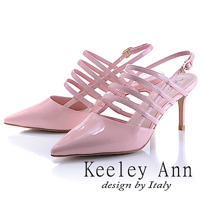 Keeley Ann 羅馬假期~鏤空條紋金屬釦真皮高跟尖頭鞋(粉紅色-Ann)
