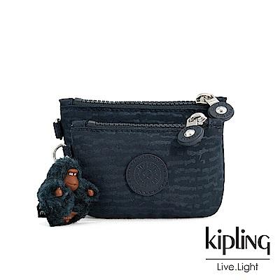 Kipling 文青靛藍紋路雙拉鍊袋零錢包-SYRINE