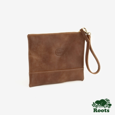 ROOTS 配件- 皮革拉鍊手拿袋-棕