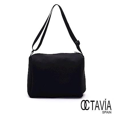 OCTAVIA8 - 走四方 潛水布尼龍四方斜背軟包 - 黑色控