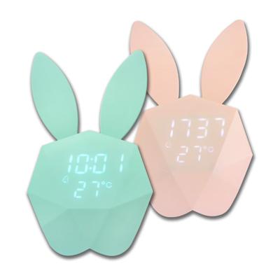 USB可愛咪兔子聲控智能感光貪睡日期充電電子鬧鐘 - 馬卡龍藍粉