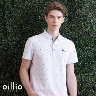 oillio歐洲貴族 柔順抗皺質感POLO 短袖滿版刺繡設計 白色
