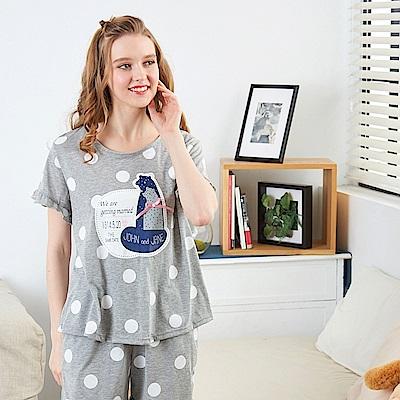 睡衣 土撥鼠甜心點點兩件式睡衣 兩色可選(R87009)蕾妮塔塔