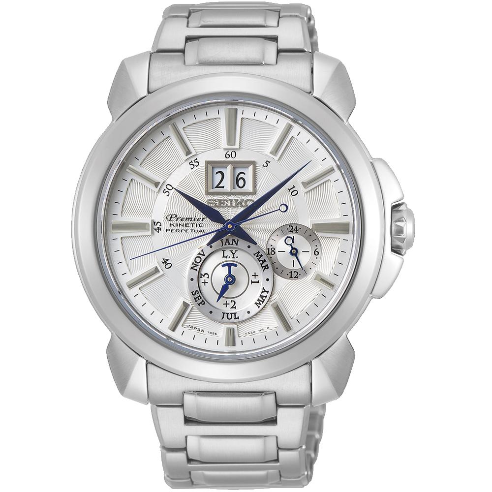 SEIKO Premier人動電能萬年曆腕錶(SNP159J1)白/43mm