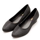 River&Moon防水鞋-晴雨二穿Q軟髮絲紋尖頭楔型跟鞋-黑