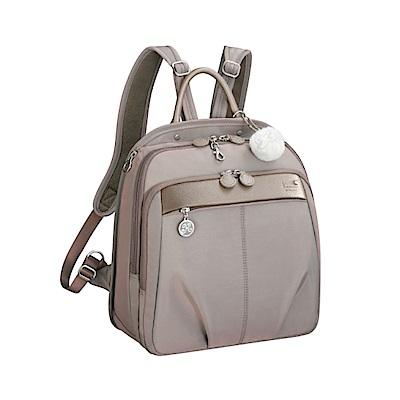Kanana卡娜娜 大型 多功能尼龍皮革手提後背包-米灰色