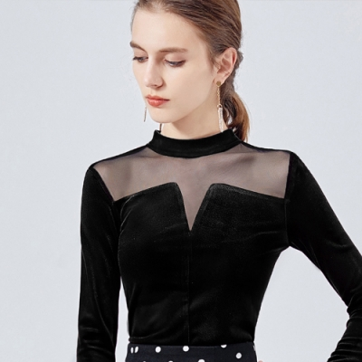 專注內搭-法式復古金絲絨長袖T恤拼接網紗透視性感上衣(S-2XL可選)