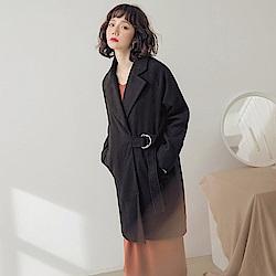 翻領側邊綁帶長版大衣外套-OB嚴選