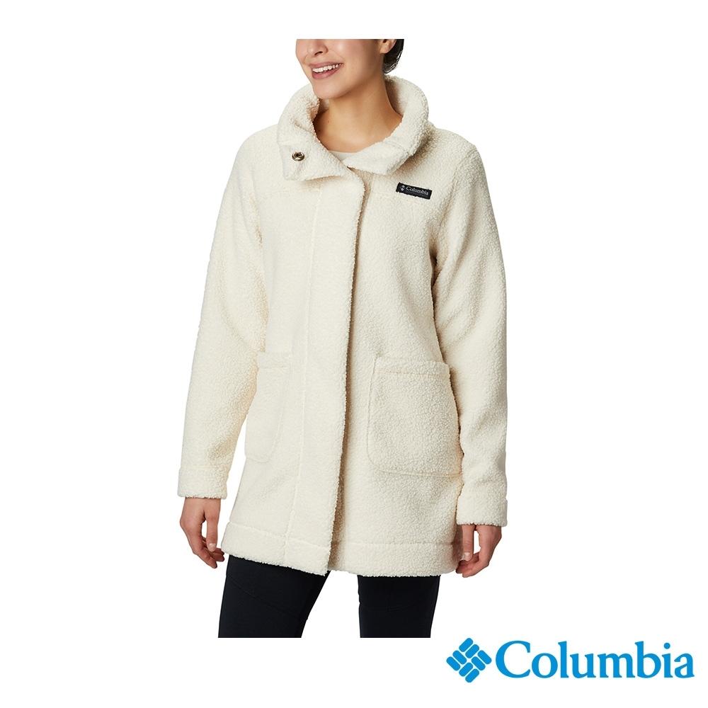 Columbia 哥倫比亞 女款-長版針織外套-米白色