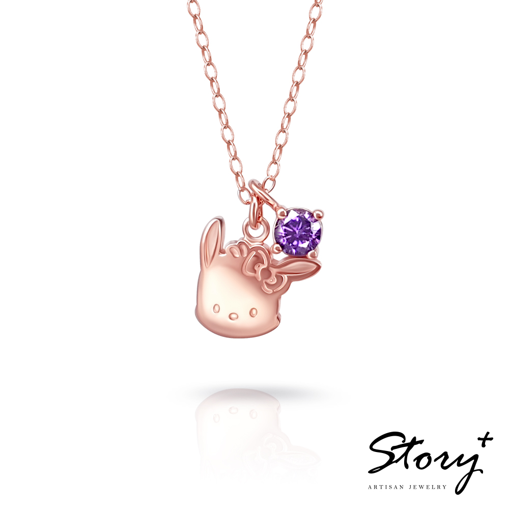 STORY故事銀飾-帕恰狗與Hello Kitty 誕生石純銀項鍊