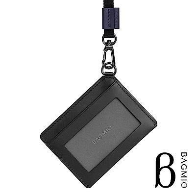 BAGMIO vigor 牛皮橫式雙卡證件套 墨黑 附織帶