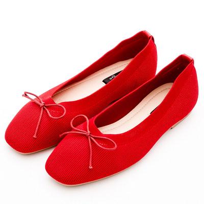 River&Moon韓版超軟飛織朵結娃娃鞋*紅