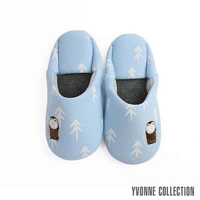 Yvonne Collection 貓頭鷹日式拖鞋-灰藍M