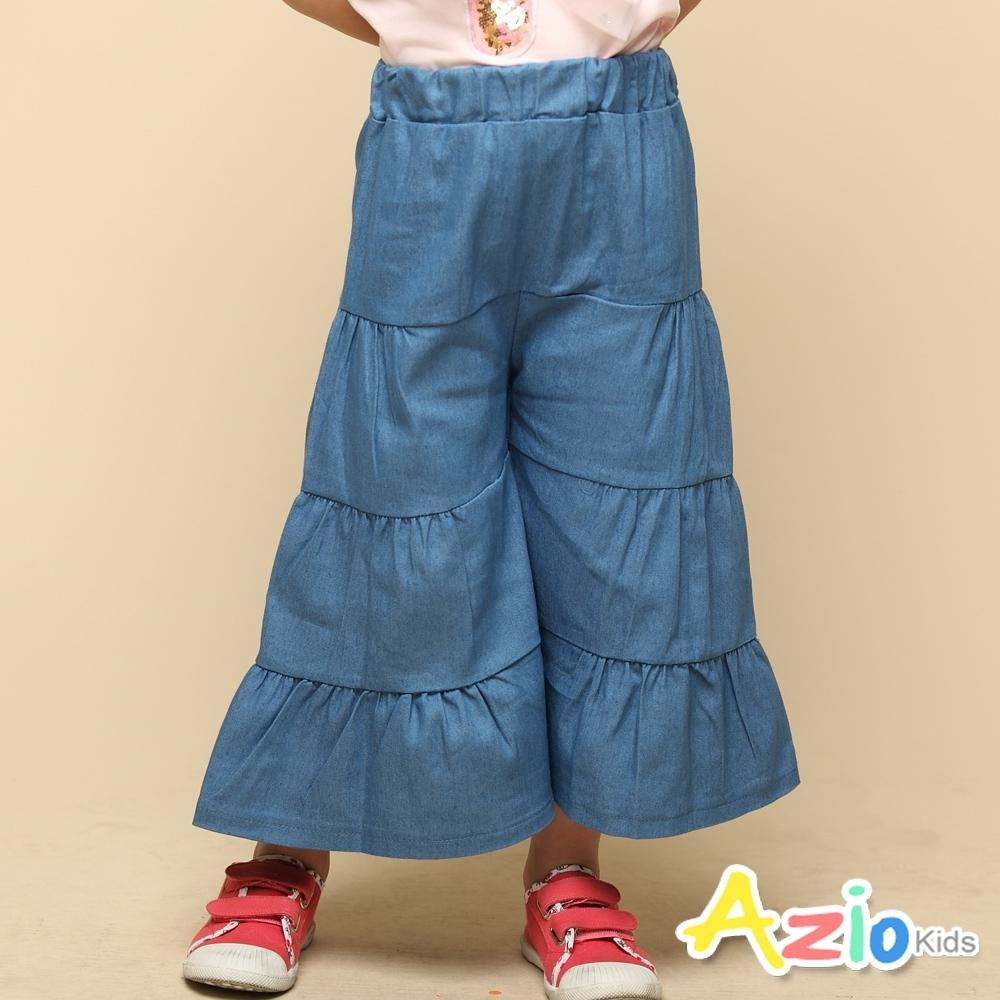 Azio 女童 褲裙 四層接片下擺波浪造型牛仔褲裙(藍)