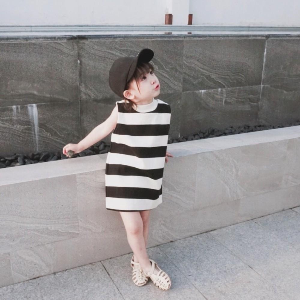 小衣衫童裝  女童夏裝半高領條紋無袖背心連身裙1080205