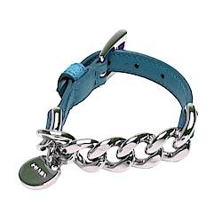 PRADA 經典品牌LOGO圓牌粗鍊皮革手環(土耳其藍X銀)