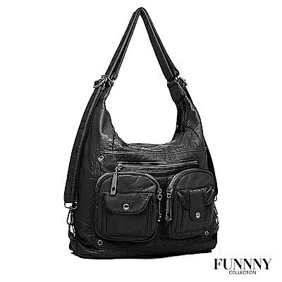 FUNNNY 羊皮觸感 實用3way後背包系列 Paloma 黑