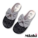 Miaki-穆勒鞋可愛教主鏤空圓頭包鞋-黑