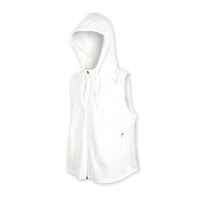 PUMA 女基本系列連帽拉鍊背心-慢跑 路跑 無袖上衣 白