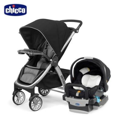 chicco-Bravo極致完美手推車Air版-星塵黑+KeyFit 手提汽座(優雅黑)