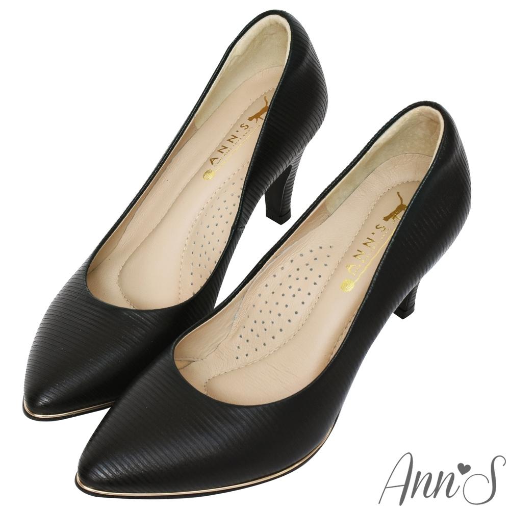 Ann'S美腿公式-小羊皮金色夾心尖頭高跟鞋-黑