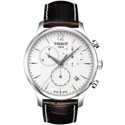 TISSOT 天梭 T-TRADITION 極簡風計時腕錶-白/42mm T0636171603700